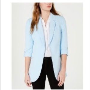 Light blue blazer - roll-tab sleeves, extra length